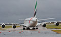 Emirates airbus taxiing manchester airport Stock Photography