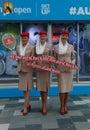 Emirates Airline flight attendants at Australian tennis center during Australian Open 2016 Royalty Free Stock Photo