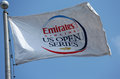 Emirates airline us open series flag at billie jean king national tennis center during us open flushing ny august on august in Royalty Free Stock Image