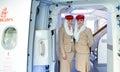 Emirates crew members meet passengers dubai may in airbus a aircraft on may in dubai uae handles major part of passenger Royalty Free Stock Photos