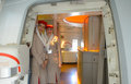 Emirates crew members moscow russia june stand near door of boeing is one of two flag carriers of the united arab Royalty Free Stock Photography