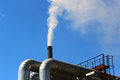 Emissions from pipes and heating main power plant at krasnoyarsk Royalty Free Stock Photography
