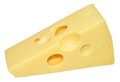 Emmental cheese a wedge of swiss isolated on a white background Royalty Free Stock Images