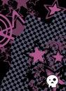 Emo cartoon skull and stars cel phone wallpaper background Royalty Free Stock Photo