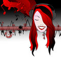 Emo girl listening music Royalty Free Stock Photo