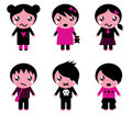 Emo kids cute collection Royalty Free Stock Photo