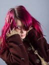 Emo look   girl with red hair Royalty Free Stock Photo
