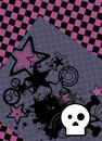 Emo style cartoon skull and stars cel phone wallpaper 2 Royalty Free Stock Photo
