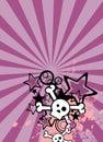 Emo style cartoon skull and stars cel phone wallpaper 3 Royalty Free Stock Photo