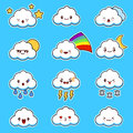 Emoji clouds vector. Cute smily clouds with faces vector set. Cartoon funny emoticon.