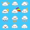 Emoji clouds vector. Cute smily clouds with faces vector set. Cartoon funny emoticon.