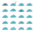 Emoji clouds vector