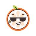 Emoji - cool orange with sunglasses. Isolated vector.