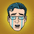 Emoji crying sadness man face icon symbol