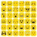 Emoji emoticons set face expression feelings collection vector