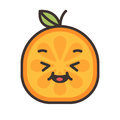 Emoji - enjoy orange with happy smile. Isolated vector.