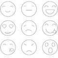 Emoji faces outline simple icons. Vector