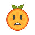 Emoji - furious orange. Isolated vector.