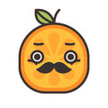 Emoji - gentleman orange smile with mustache and monocle. Isolated vector.