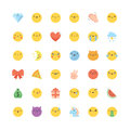 Emoji icon vector set. Flat cute korean style isolated emoticons