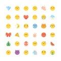 Emoji icon vector set. Flat cute korean style isolated emoticons Royalty Free Stock Photo
