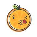 Emoji - kiss orange smile. Isolated vector.