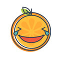 Emoji - laughing with tears orange smile. Isolated vector.