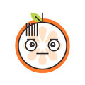 Emoji - no words straight orange smile. Isolated vector.