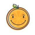 Emoji - orange with happy smile. Isolated vector.