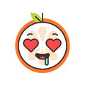 Emoji - orange in love with happy smile. Isolated vector.