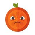 Emoji - sad orange feeling like crying. Isolated vector.