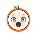 Emoji - scream orange smile. Isolated vector.