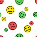 Emoji seamless pattern. Red, green, yellow smileys emoticons positive, neutral and negative on white background. Vector