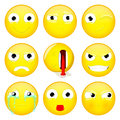 Emoji set. Smile, what, wink, angry, dead, evil, crying, show tongue, sulk emoticon. Vector illustration. Royalty Free Stock Photo