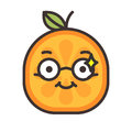 Emoji - smart smiling orange with glasses. Isolated vector.