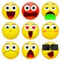 Emoji smile emoticon pack. Vector emotion illustration.