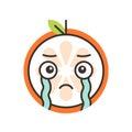 Emoji - tears crying orange. Isolated vector.