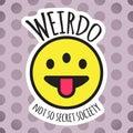 Emoji weird three eyed funny face. Weirdo smile, sticker or patch design vector illustration