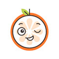 Emoji - winking orange with happy smile. Isolated vector.