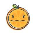Emoji - worry orange with drop of sweat. Isolated vector.