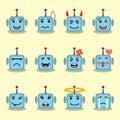 Emojis flat robot set