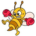 Emoticon Bee Wearing Boxing Gloves Practicing Kicking While Flying  Doodle Icon Image Kawaii