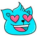 Emoticon of a creature`s head with an amazed face in love, doodle icon image Royalty Free Stock Photo