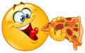Emoticon eating pizza Royalty Free Stock Photo