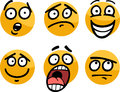 Emoticon or emotions set cartoon illustration of funny and expressions like sad happy fear skeptic Stock Photo