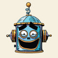 Emoticon funny laughing emoji robot head smiley emotion Royalty Free Stock Photo
