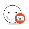 Emoticon happy email concept