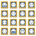 Emoticon icons set blue