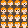 Emoticon icons set of cute girl with various emotions, emoji, facial, feeling, mood, personality, symbol Royalty Free Stock Photo