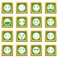 Emoticon icons set green